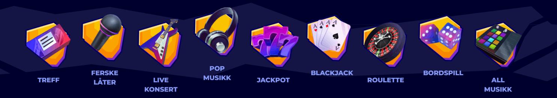 Boka casino kategorier