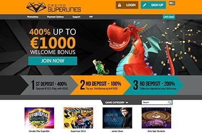 Casino Superlines har et enkelt design.