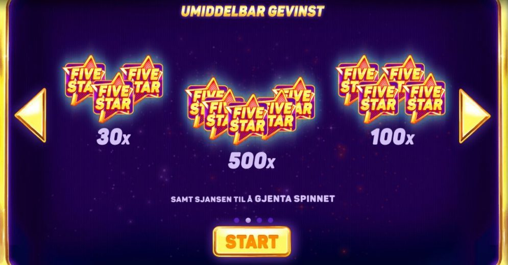 Five star - umiddelbar gevinst
