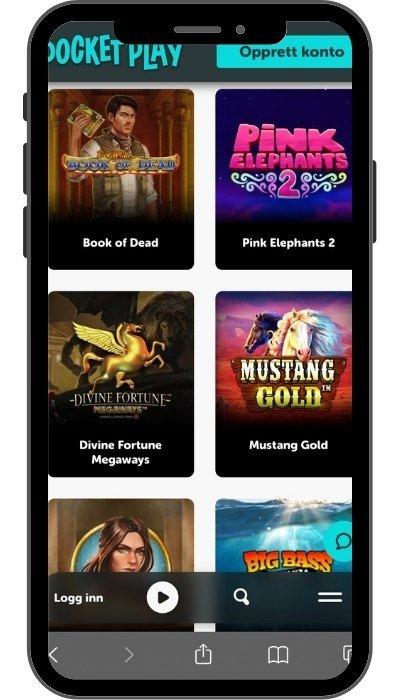 Spillutvalg på Pocket Play