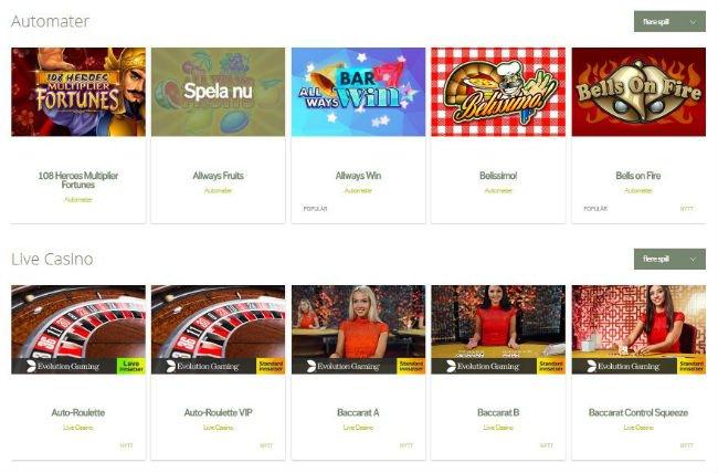 Svedala Casino tilbyr flere typer nettspill.