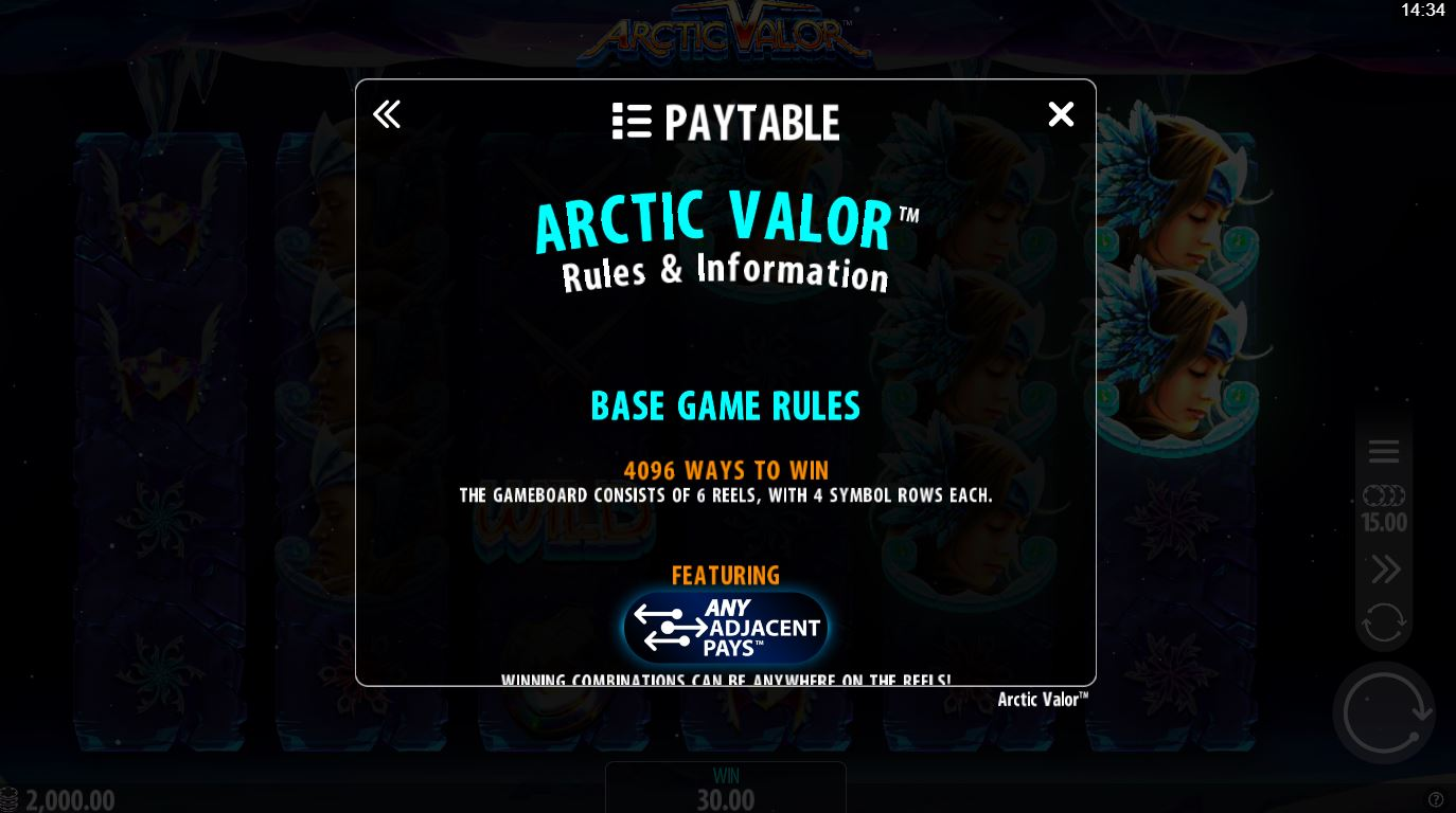 arctic valor - paytable