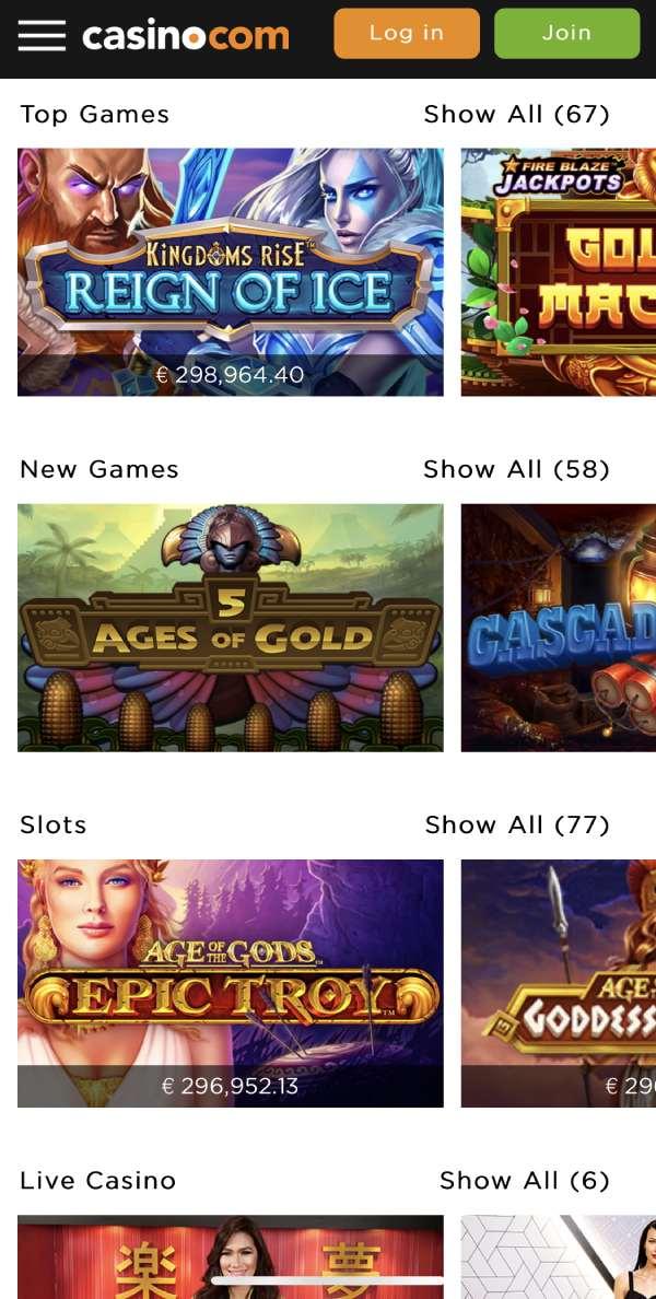 casino.com game selection