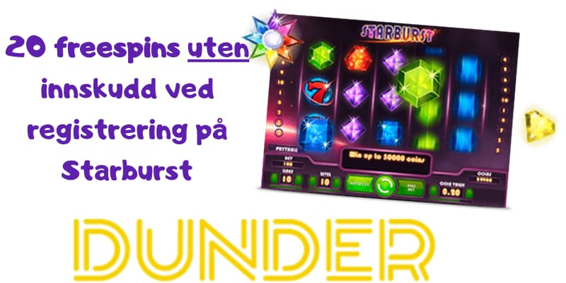 Dunder Casino gir freespins uten innskudd ved registrering