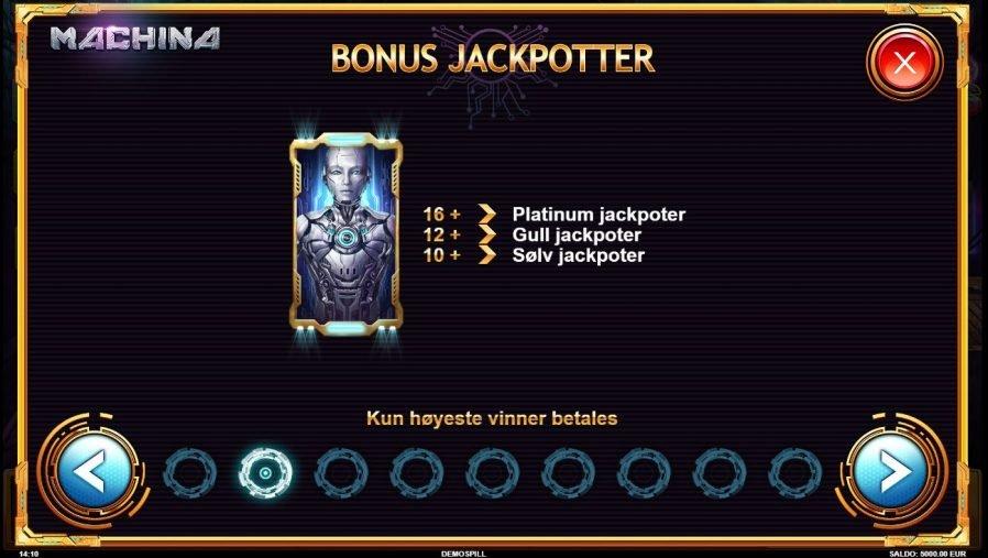 machina bonus jackpot