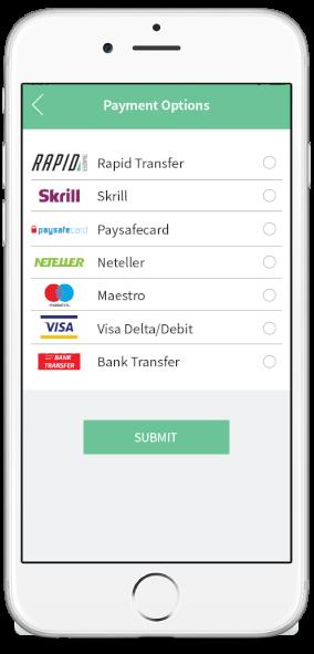 rapid transfer - velg betalingsmetode