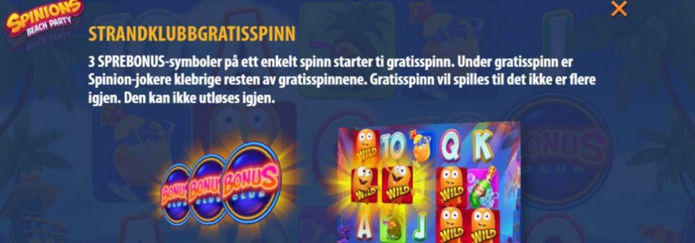 spinions party gevinsttabell strandklubbgratisspinn