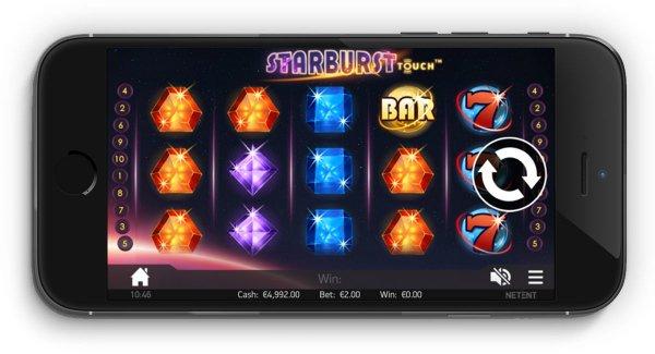Du kan spille Starburst på mobil.