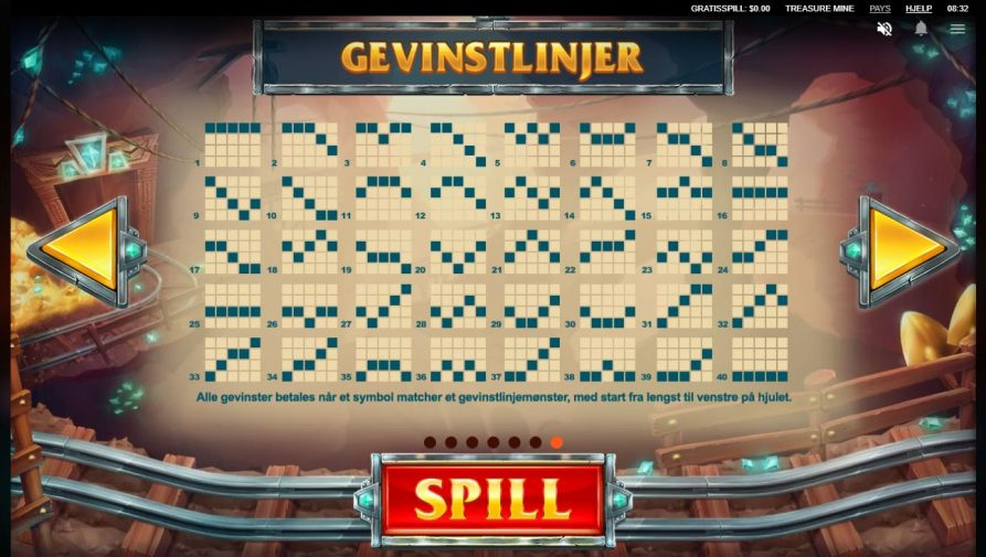 treasure mine - gevinstlinjer